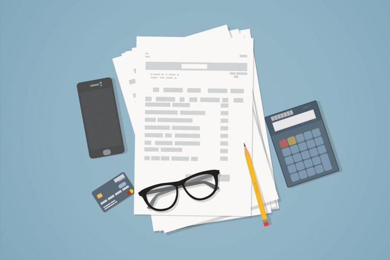 Illustrasjon av skattedokumenter