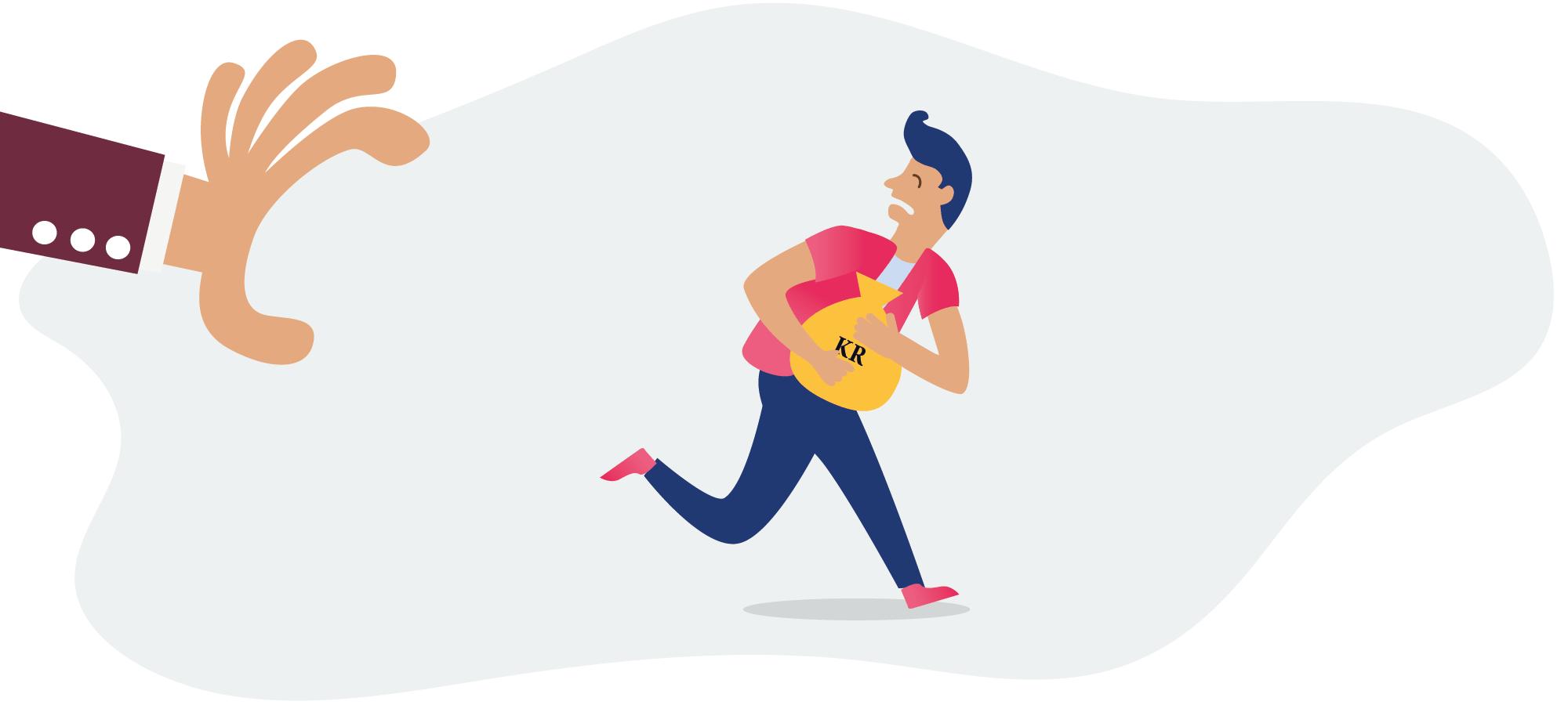 Mann med pengesekk som løper fra en stor arm